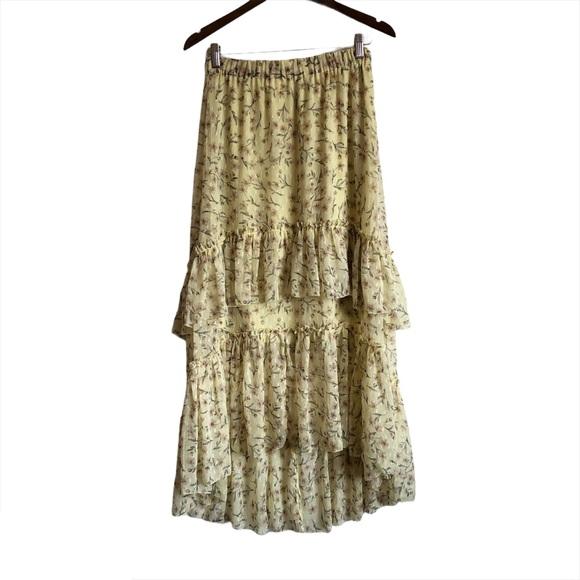 *3/$25* H&M Boho Floral Ruffle Maxi Skirt Yellow